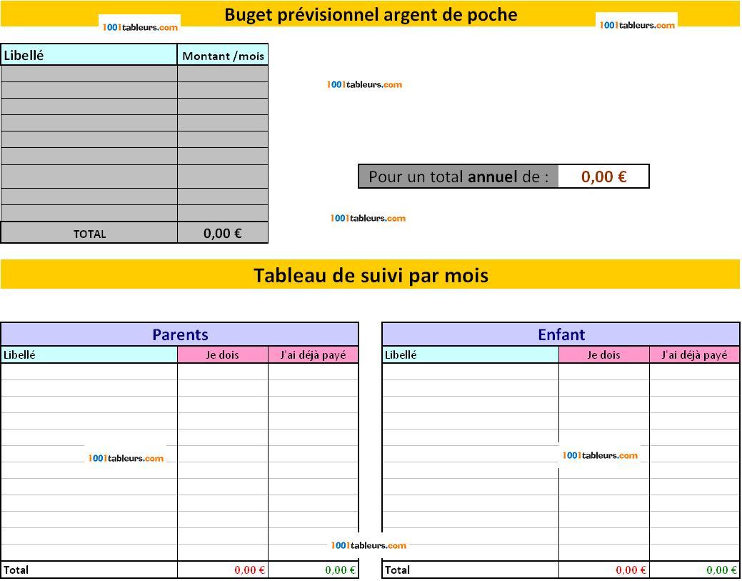 Budget Argent De Poche Pour Excel 1001tableurs Com